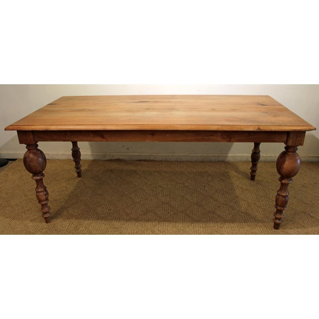 French Country Natural Raw Wood Farm Dining Table Chairish - Natural wood farm table
