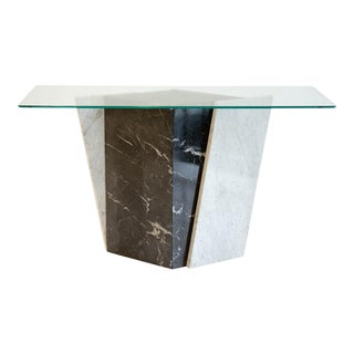 Geometric Black and White Marble Console Table With Glass Top 1980's