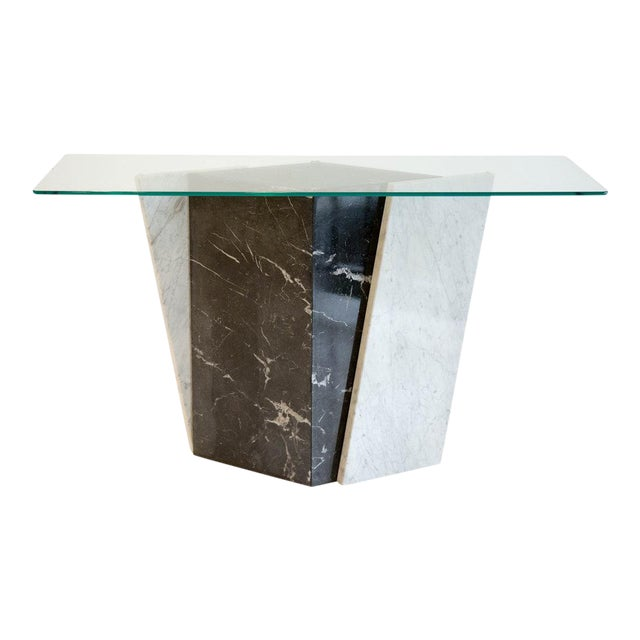 Geometric Black and White Marble Console Table With Glass Top 1980's For Sale