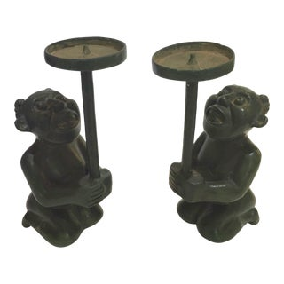 Chinese Mythological Green Goblins Spinning Plates Bronze Candle Holders - a Pair For Sale
