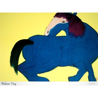 1990 Walasse Ting 'Blue Horse (Sm)' Contemporary Blue,Yellow France Offset Lithograph For Sale