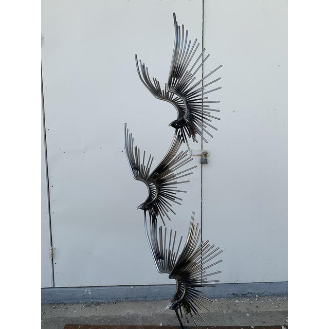 Chrome 6 Foot Eagles in Flight Sculpture by Curtis Jere For Sale - Image 8 of 11