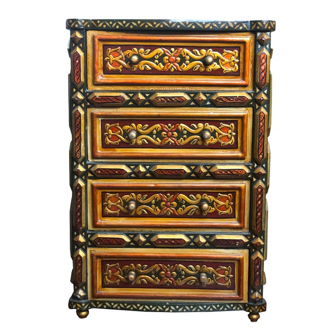 A very unique hand-painted Moorish/Moroccan chest with 4 drawers. Combining Floral design with geometric edges give this...