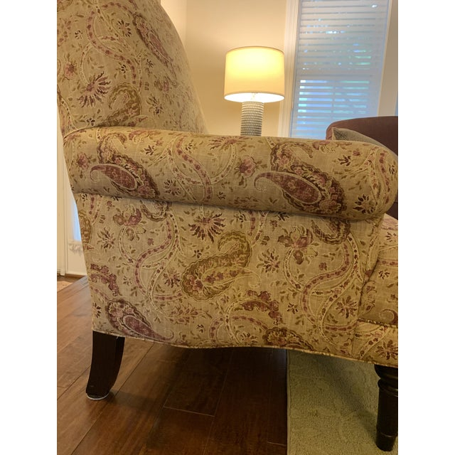 Traditional Modern Basset Upholstered Accent Chair For Sale - Image 3 of 6