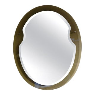 Italian Fontana Arte Style Oval Mirror For Sale