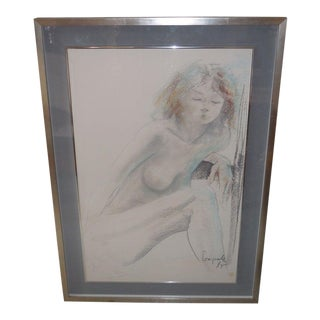 Rare Signed Dario Campanile Orig Female Nude Drawing