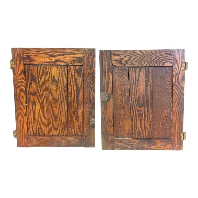 Vintage Rustic Wood Cabinet Doors - A Pair For Sale