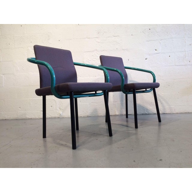 "2 ""Mandarin"" chairs by Ettore Sottsass for Knoll, designed in 1986. Ettore Sottsass founded the Milan design cooperative..."