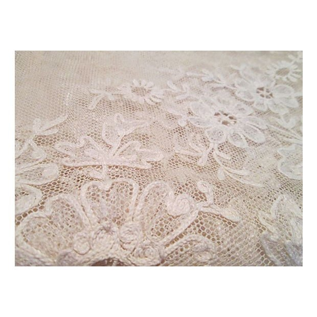French 19th-C. French Embroidered Tulle Runner For Sale - Image 3 of 7