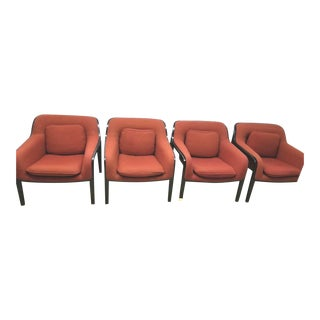 1970s Vintage Bill Stephens for Knoll Bentwood Lounge Chair Model 1315 Set of 4 For Sale