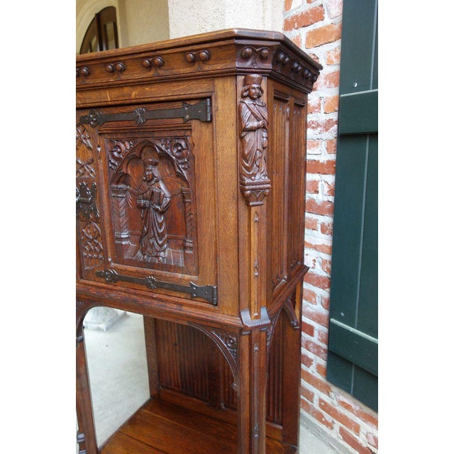 Antique French Carved Oak Gothic Vestment Cabinet For Sale - Image 4 of 11