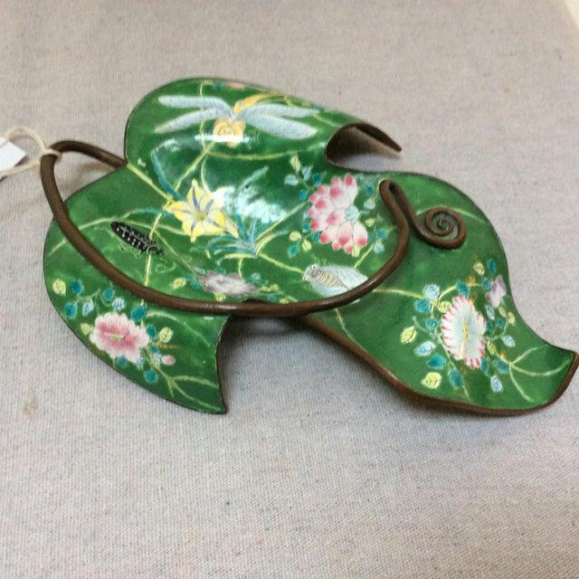 Enamel on Copper Green Leaf Dish For Sale - Image 5 of 5