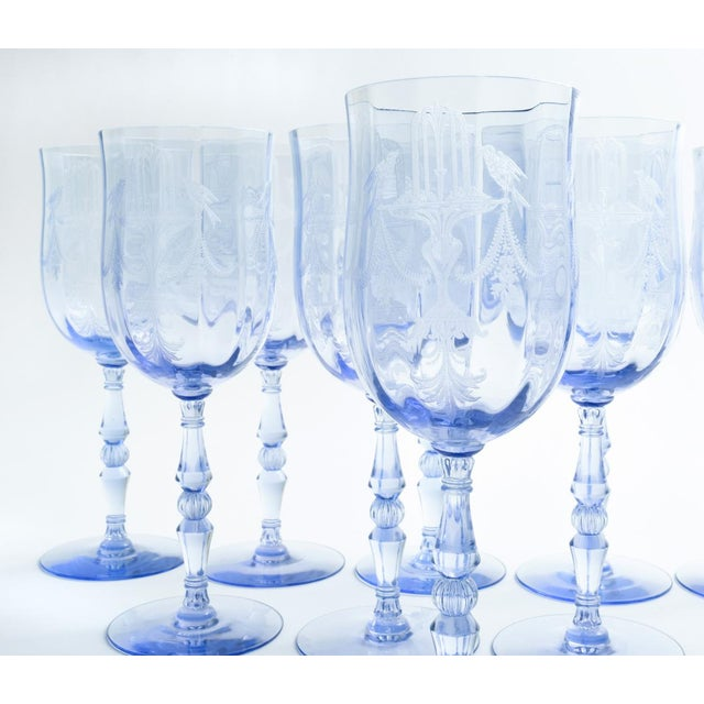 Mid 20th Century Vintage Etched Crystal Wine / Water Glassware Set For Sale - Image 5 of 13