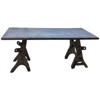 Vintage Rustic Industrial Work Table For Sale
