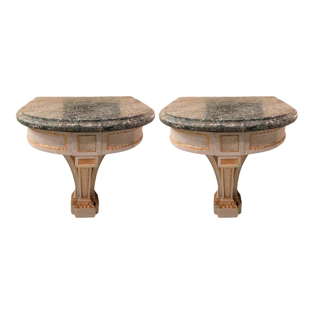 Hollywood Regency Painted and Marble Demilune Consoles - a Pair For Sale - Image 12 of 12