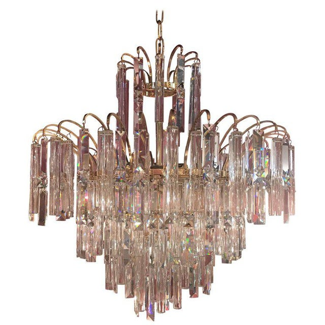 Vintage Crystal and Gold Plated Mid-Century Modern Chandelier For Sale - Image 10 of 10