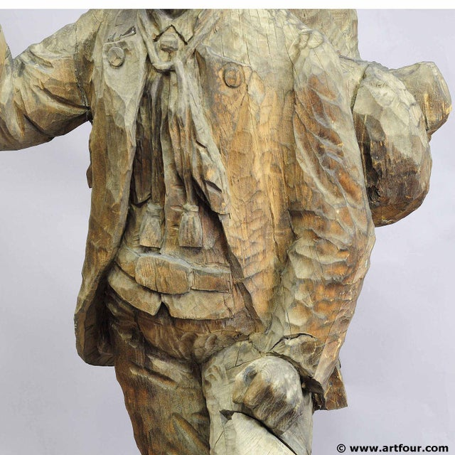 A Large Unfinished Black Forest Poacher With Ibex Carving For Sale - Image 10 of 12