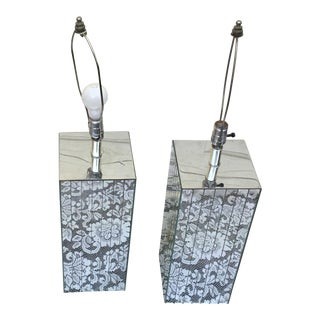1970s Art Deco Mirror Table Lamps - a Pair For Sale