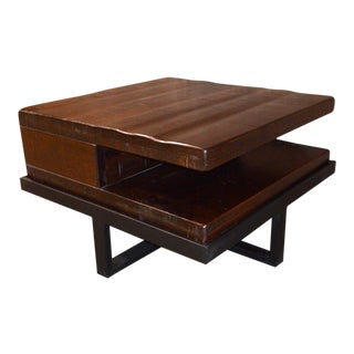 Transitional Style Wood & Metal Coffee Table For Sale