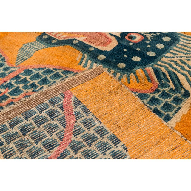 """Textile 19th Century Dragon Rug-4'1'x5'4"""" For Sale - Image 7 of 10"""