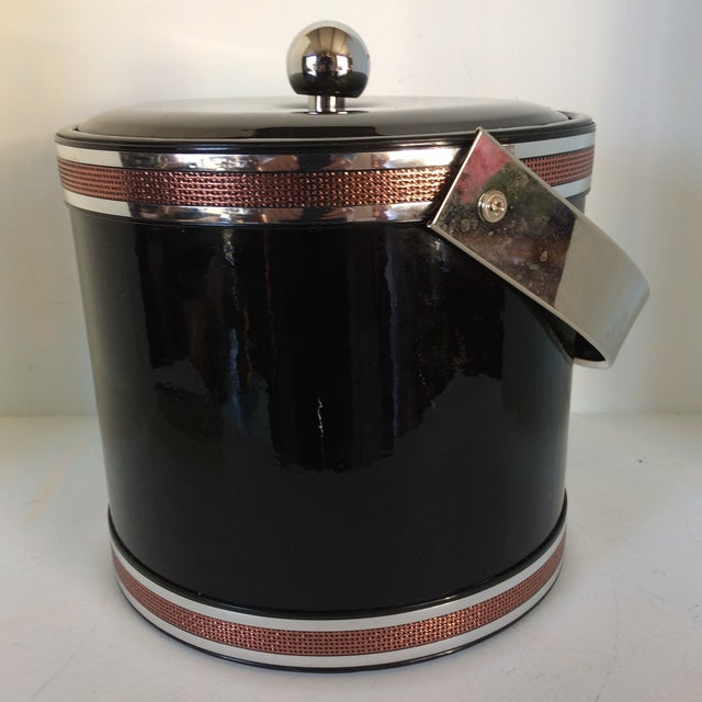 Georges Briard Georges Briard Black Vinyl & Chrome With Copper Tone Bands Ice Bucket and Tongs For Sale - Image 4 of 13