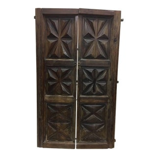 French 19th Century Pair of Carved Wood Doors or Screen