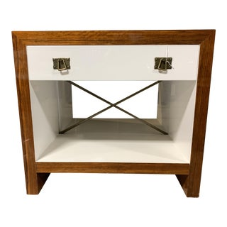 Rosewood & White Lacquer Nightstand For Sale
