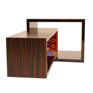 Contemporary rosewood and bead coffee table by Alire De Alvarez For Sale