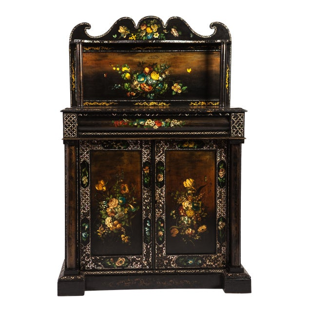 English Mother-of-Pearl Painted Victorian Cupboard For Sale