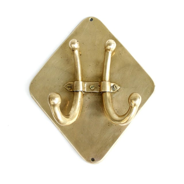 Vintage Mid-Century Brass Double Wall Towel Hook - Image 3 of 6