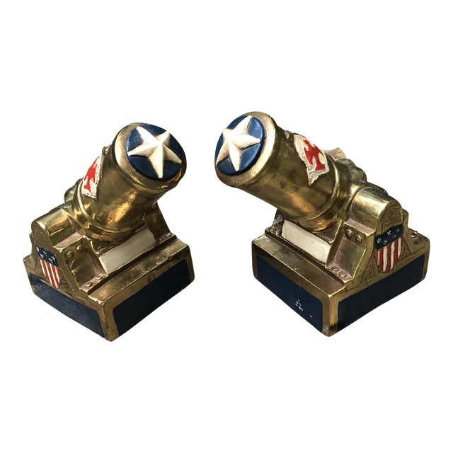 Marion Bronze Co. Americana Patriotic Cannon Bookends - a Pair For Sale