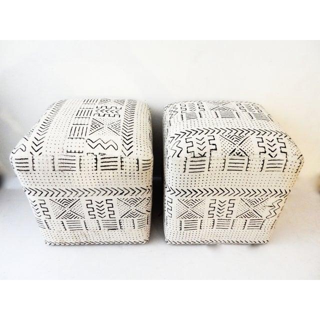 Black & White Mud Cloth Stools - Pair - Image 3 of 9