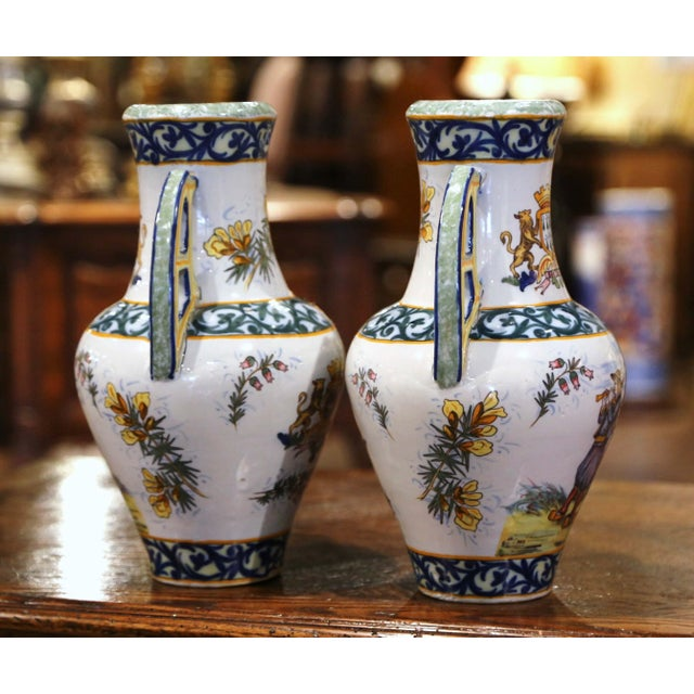 Ceramic 19th Century French Hand Painted Faience Vases Signed Hr Quimper - a Pair For Sale - Image 7 of 11