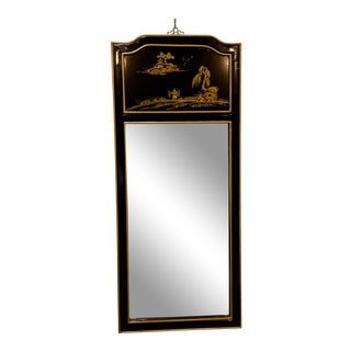 Mid-Century Chinoiserie Black Lacquer and Gold Wall Mirror For Sale