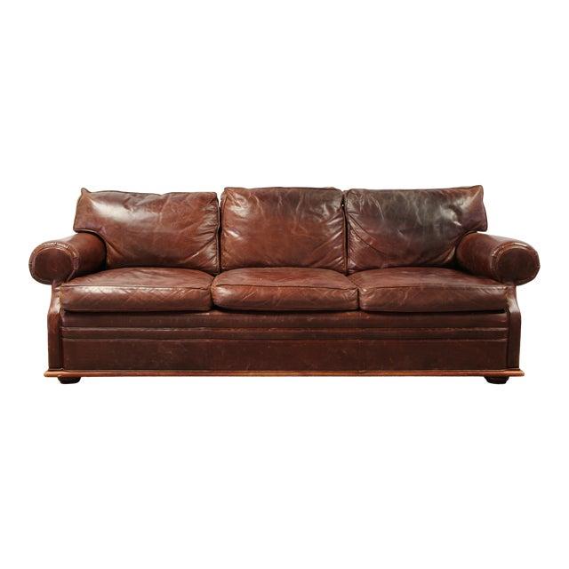 Vintage Ralph Lauren Leather Floating Sofa For Sale