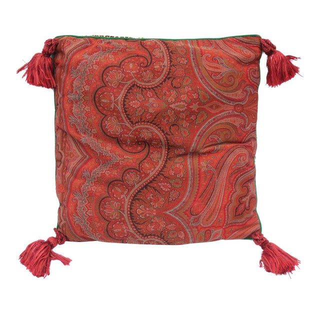 20th Century Contemporary Red Paisley/Leopard Print Silk Down Pillow For Sale - Image 10 of 10