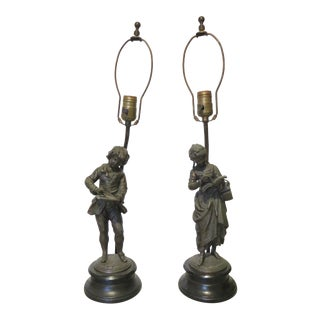 Victorian Spelter Figural Table Lamps - a Pair For Sale