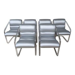 Signed Lucite and Chrome Chairs by Lion in Frost - Set of 6 For Sale
