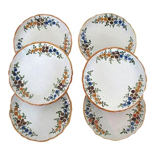 "Vintage Italian ""Faenza"" Floral Plates - Set of 6 For Sale"