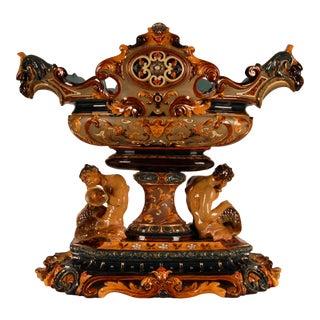19th Century Austrian Majolica Renaissance Fauns and Lion Masks Centrepiece Vase Jardiniere For Sale