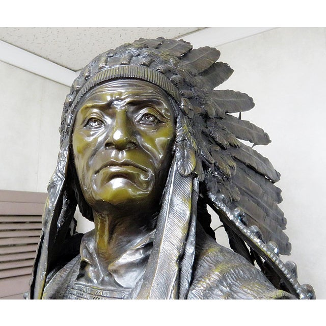 Bronze Indian Sculpture Signed Carl Kauba For Sale - Image 11 of 13