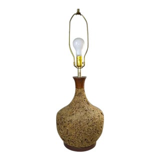 1960s Mid Century Modern Round Natural Cork Lamp For Sale