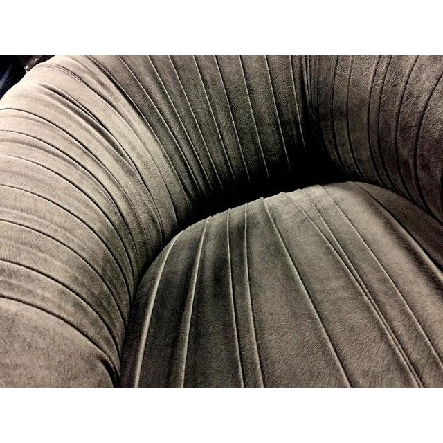 2010s Custom Dark Gray Velvet Swivel Chair by Nathan Anthony For Sale - Image 5 of 6
