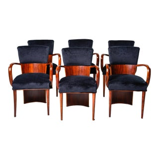 Set of 6 Art Deco Amboyna Wood Chairs With Black Velvet Upholstery For Sale
