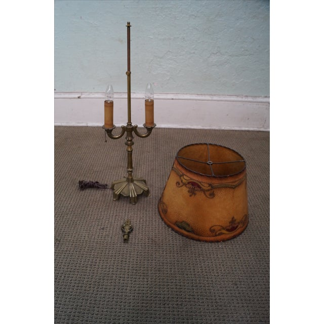 Gold Remington Antique Brass Table Lamp For Sale - Image 8 of 10