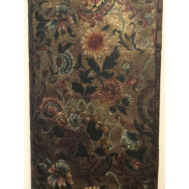 Antique French Handpainted Leather Screen Panel - Image 3 of 6