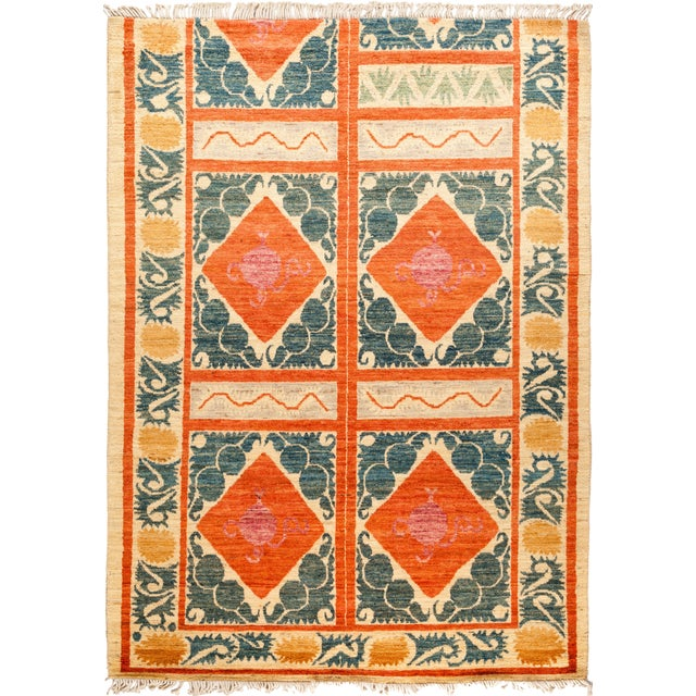 Orange and Green Tribal Rug For Sale