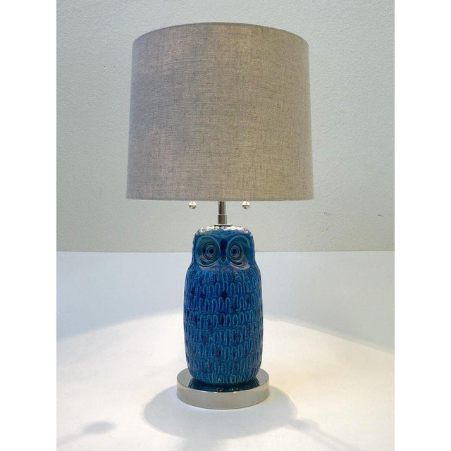 1960s Italian Ceramic and Nickel Owl Table Lamp by Aldo Londi for Bitossi For Sale - Image 5 of 11