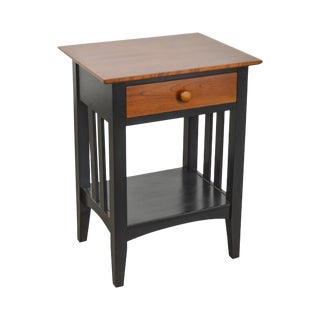 Ethan Allen American Impressions Black Painted & Cherry One Drawer Nightstand