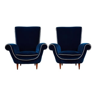 Pair of Ico Parisi Attributed Blue Velvet Armchairs For Sale
